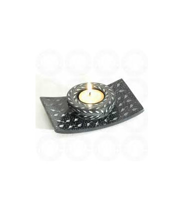 "Stone Black Candle Burner 5.5""X3.5 STCB3179"
