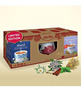 Zestaw upominkowy herbat Yogi Tea + Zdobiony ceramiczny podgrzewacz do filiżanki