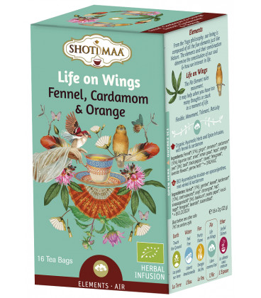 Herbata Element Powietrza: koper włoski, kardamon i pomarańcza /Life of wings - 16 torebek, Shoti Maa