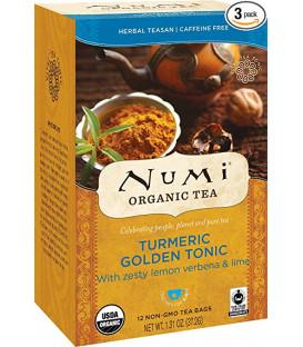 Organiczna herbata Golden Tonic Turmeric, Numi Tea, 12 torebek