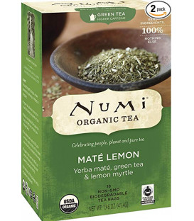 Organiczna herbata Mate Lemon Green, Numi Tea, 18 torebek