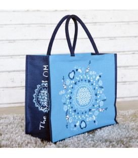 """Jute bag """"Flower of Life"""" Spirit of OM, turquoise-blue (turquoise / Regular)"""