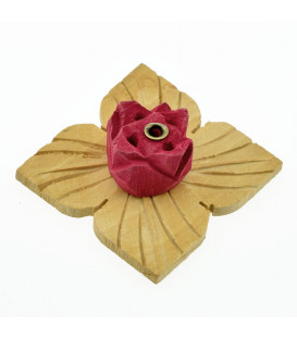 Incense stick holder wood, Blossom (red)