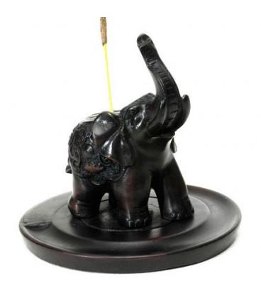 Figurka Podstawka pod kadzidła ze Słoniem Czarny kamień IBR003