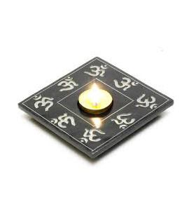 Black Stone Om Candle and Incense Holder 5 IBS3306
