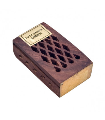 5 g. Nag Champa Amber Fragrant Rock Perfume in Wooden Box Inlaid with Brass Plate RE05-NCA