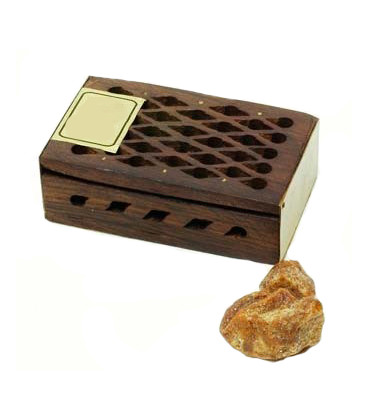 5 g. Oudh Amber Fragrant Rock Perfume in Wooden Box Inlaid with Brass Plate RE05-OOM