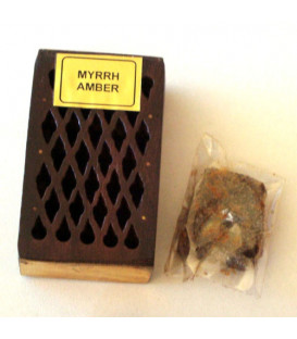 5 g. Myrrh Fragrant Rock Perfume in Wooden Box Inlaid with Brass Plate RE05-MY