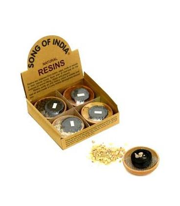 Zestaw do palenia żywic zapachowych - 4 x naturalne żywice, gliniana podstawka i węgielki Song of India + GRATIS szczypce