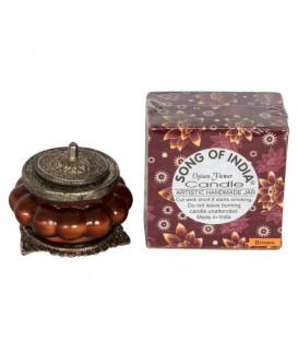 Świeca Ręcznie Robiona w brązowym szkle z orientalnym motywem - PACZULI  & AMBRA - Song of India