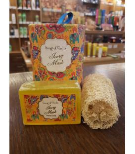 Mydło ręcznie robione w rolce z zatopioną roślinną myjką pilingującą - loofah 100g Song of India