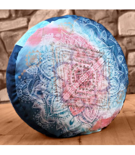 Meditation Cushion Round, Indigo-Peach (Indigo-Peach)