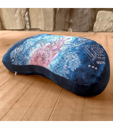 Meditation Cushion Half Moon, Indigo-Peach (Indigo-Peach)
