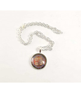 Talizman kryształowy TIBETAN MANTRA - Naszyjnik w kształcie kopuły z łańcuszkiem