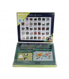 Zestaw kamieni szlachetnych świata -35 różnych rodzajów + podstawka na półkę + mapa świata