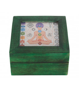 Chakra - box with glass slide in Mango wood