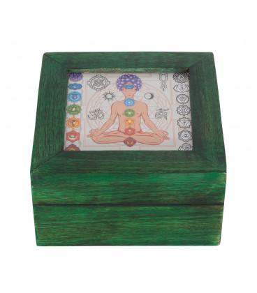 Chakra - box with glass slide in Mango wood