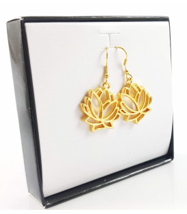623) Lotus leaf earrings gold color handmade in Indi...