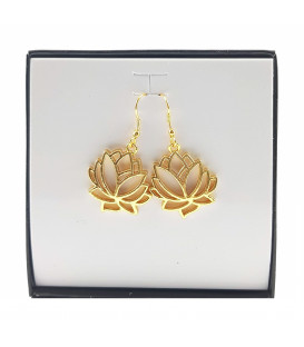 623) Lotus leaf earrings gold color handmade in Indi...