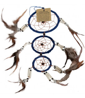 Łapacz snów  beżowe pióra Mały Rozmiar dł. ok.35 cm, 8cm średnica