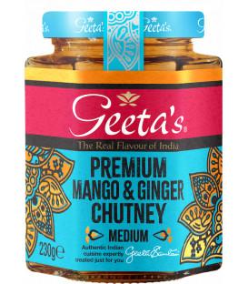Premium Mango & Imbir Chutney Ostry 230g GEETA'S