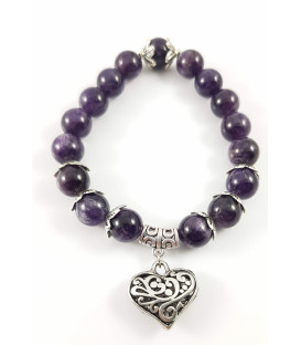 "Bracelet with Rose Quartz and Amethyst and ""heart"""