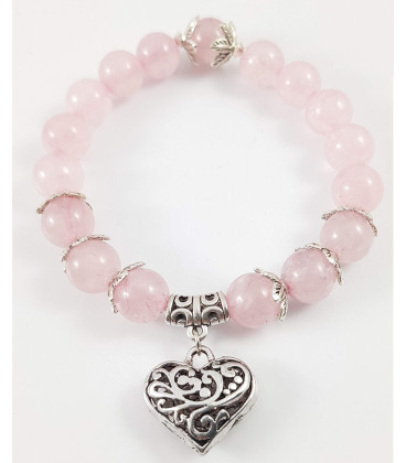 "Bransoletka z sercem i kamieniami ""Rose Quartz"""