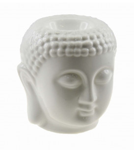 Lampa do aromaterapii Głowa Buddy, ceramiczna - w kolorze białym