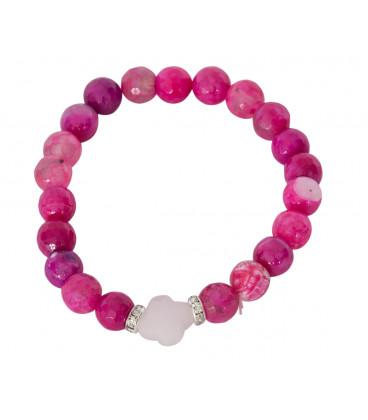 Prestige bracelet with Pink Agate & Rose quartz cross