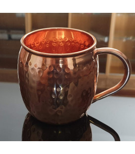 "COPPER HAMMERED MUG ""C"" HANDLE 500ml [SE 312]"