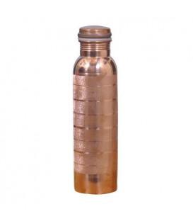 BUTELKA MIEDZIANA Gładka z fazowaniem w pasy 950ml Ayur Water [SE 211]