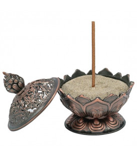 Incense burner Lotus copper colour -- 7.8x6.9x6.9 cm