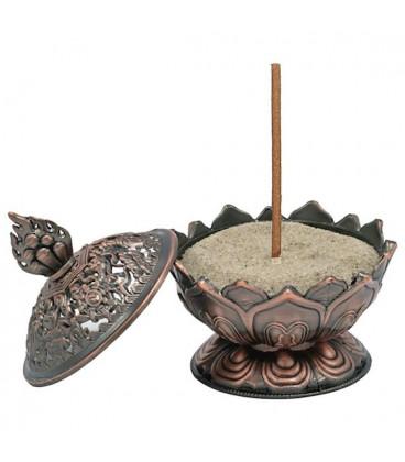 Incense burner Lotus copper colour -- 7.8x6.9x6.9 cm