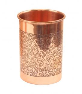 Miedziana szklanka tłoczona we wzór kwiatowy 250ml Ayur Water [SE 283]