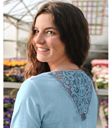 Peaceful Lotus Shirt ¾-arm with lace, sky-blue (Light blue / XS)