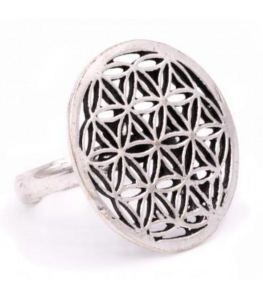 Ring bloem des levens zilverkleur -- 2.5 cm
