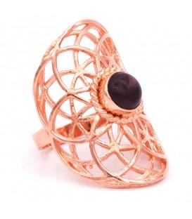Pierścień z motywem mandali w kolorze miedzi z ametystem - 3.6x2.2 cm