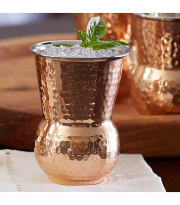 Miedziana szklanka Dholak tłoczona 300ml Ayur Water [SE 291]