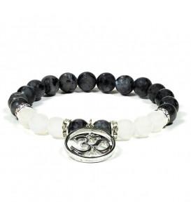 Bransoletka z kamieni szlachetnych - labradoryt i biały agat z symbolem Ohm - szer. 8 mm