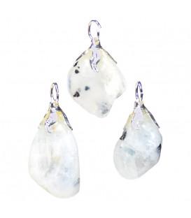 Zawieszka z białego labradorytu, nieregularny naturalny kształt - kamień ochronny dla kobiet