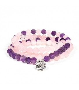 Mala rose quartz/amethyst elastic with lotus 7,50