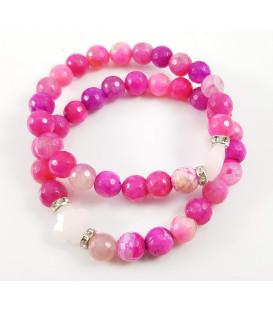 Bransoletka z kwarcowym różowym agatem i kwarcowym krzyżykiem w kolorze różanym