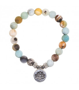 Mala/bracelet amazon stone elastic with lotus -- 0.8 cm