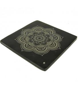 Uchwyt na kadzidło z czarnego steatytu MANDALA 10.5x10.5 cm