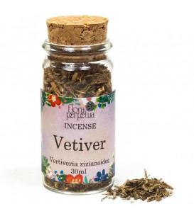 Vetiver (korzeń) kadzidło ziołowe (szklana buteleczka z korkiem) 5 g 30 ml Flora Perpetua