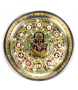 Bogato zdobiony talerz indyjski z motywem Ganesha, 300 g szerokość 28 cm