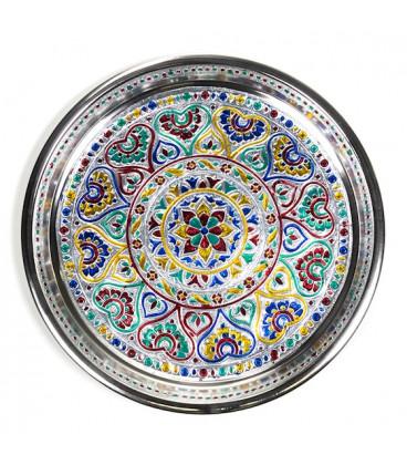 Bogato zdobiony talerz indyjski z motywem Mandala, 300 g szerokość 28 cm