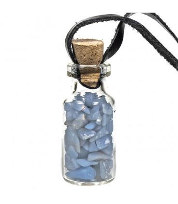 Naszyjnik ze szklaną buteleczką na sznurku z Angelitem