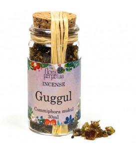 Żywica Guggul z Indii - kadzidło żywiczne (szklana buteleczka z korkiem), 18 g 30 ml, Flora Perpetua