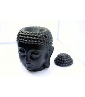 Lampa do aromaterapii Głowa Buddy, ceramiczna - w kolorze czarnym